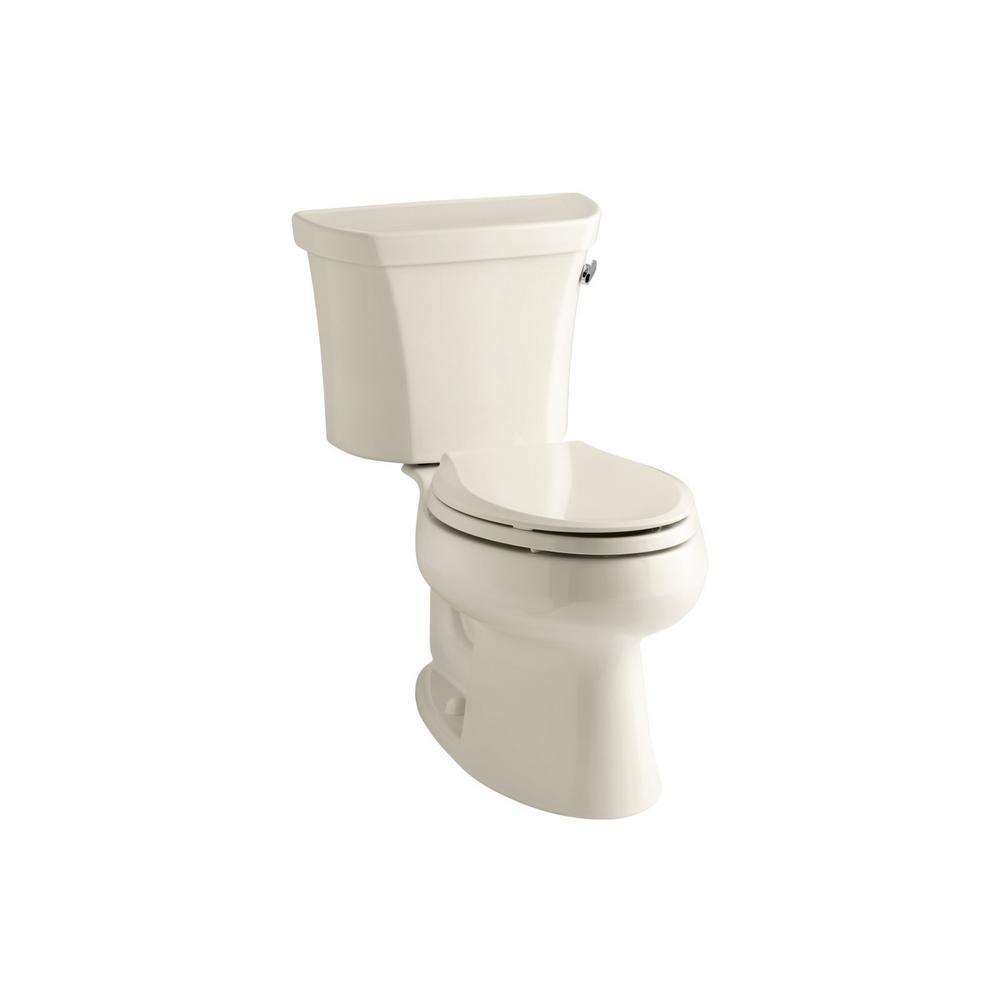 KOHLER Wellworth 2-piece 1.6 GPF Single Flush Elongated Toilet in Almond