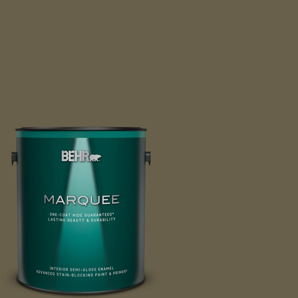 Behr Marquee 1 Gal N340 7 Kilimanjaro One Coat Hide Semi Gloss Enamel Interior Paint And Primer In One 345301 The Home Depot
