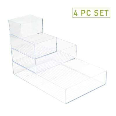 Acrylic 4-Piece Multi-Size Office Supply, Accessory Desk Organizer Set, Clear