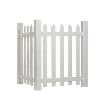 4 ft. H x 3.5 ft. W White Vinyl Spaced Picket Corner Accent Fence Panel Kit