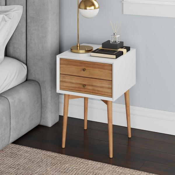 Harper Brown and White Nightstand with 2-Drawer Wooden Side Table or End Table