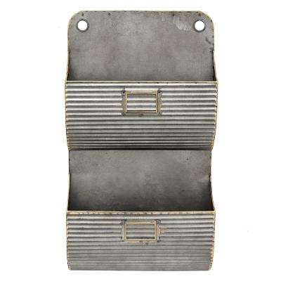 12 in. x 4 in. Gray Metal Wall Pocket