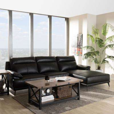 Rabbie 2-Piece Black Leather Sleep Sectional