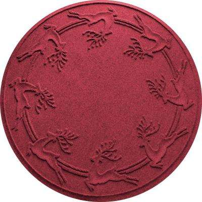 aqua shield redblack 35 in round reindeer run under the tree mat - Red And Black Christmas Decorations