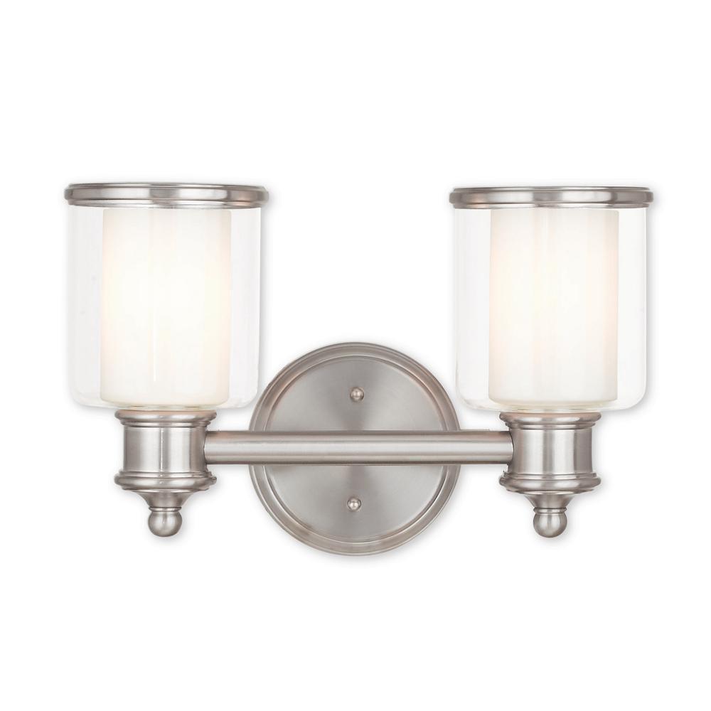 Middlebush 2-Light Brushed Nickel Bath Light