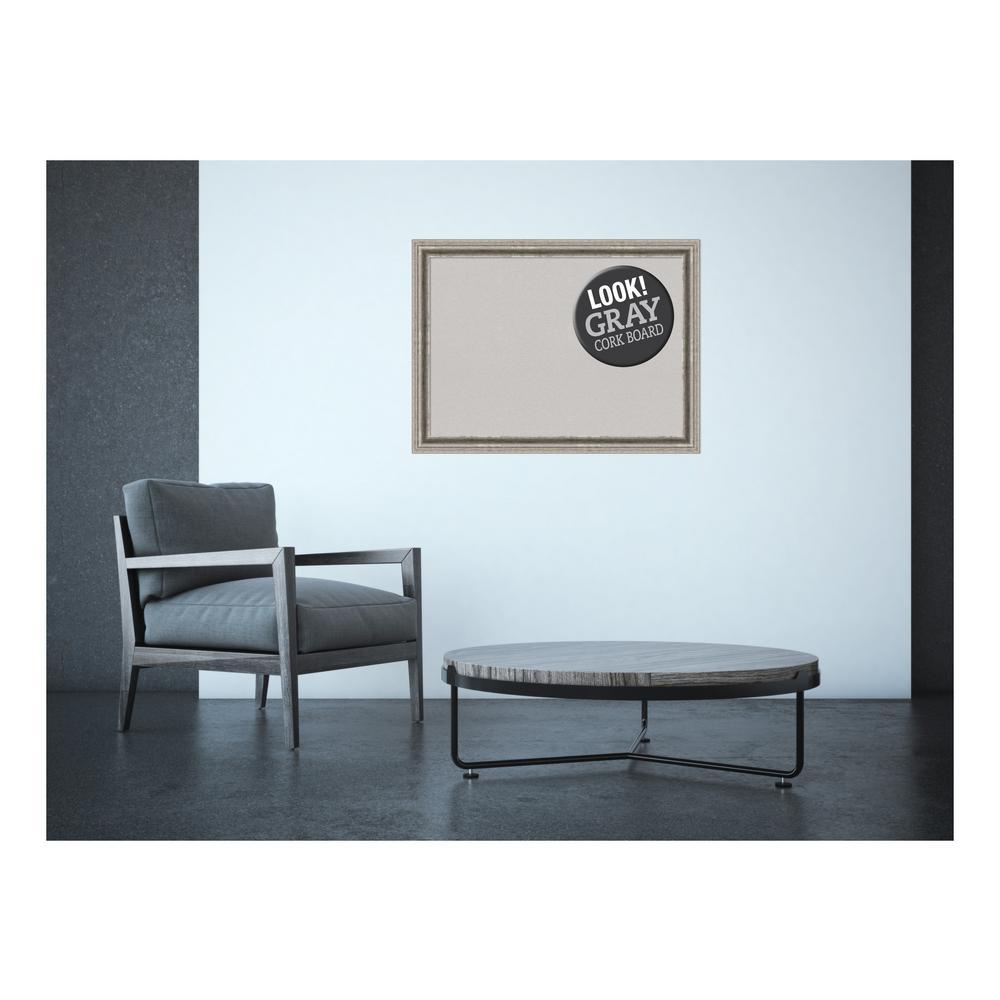 Amanti Art Bel Volto Silver Wood 31 in. x 23 in. Framed Grey Cork Board