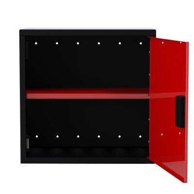 24 in. H x 25 in. W x 12 in. D Wall Cabinet 1-Door with 1-Adjustable Shelf in Black/Red