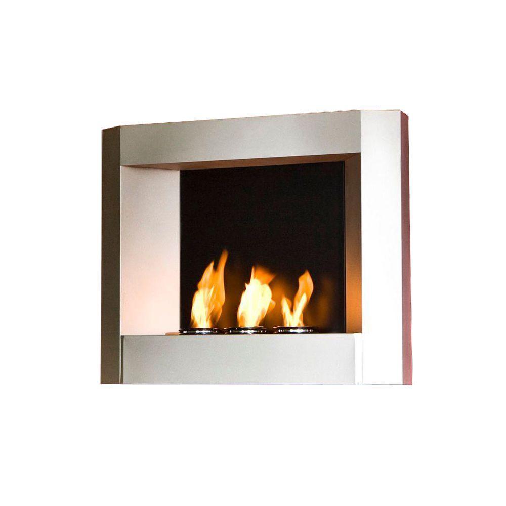 Southern Enterprises 30 in. Wall-Mount Gel Fuel Fireplace in Light Silver Matte