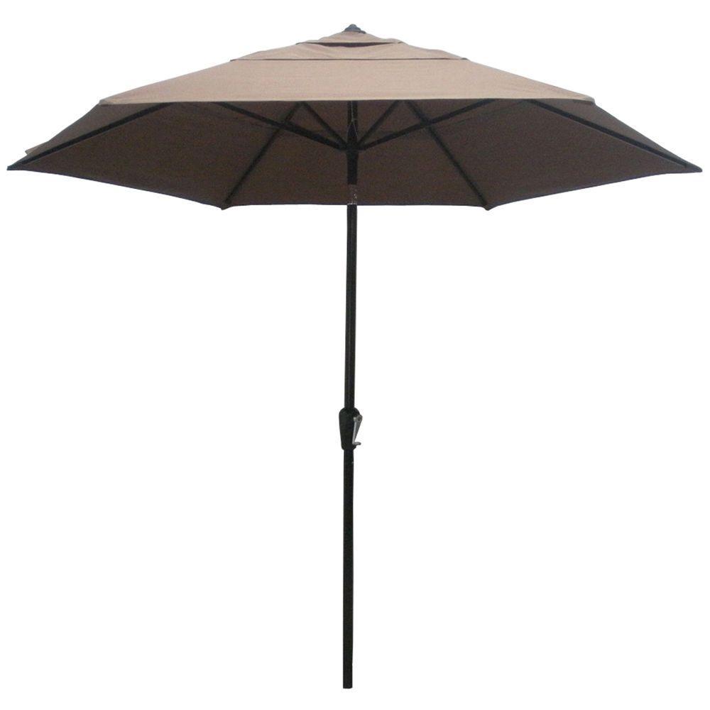 Home Decorators Collection 9 ft. Patio Umbrella in Marion Sonora Cocoa-DISCONTINUED