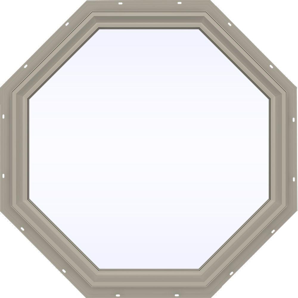 JELD-WEN 35.5 in. x 35.5 in. V-2500 Series Fixed Octagon Vinyl Window - Tan