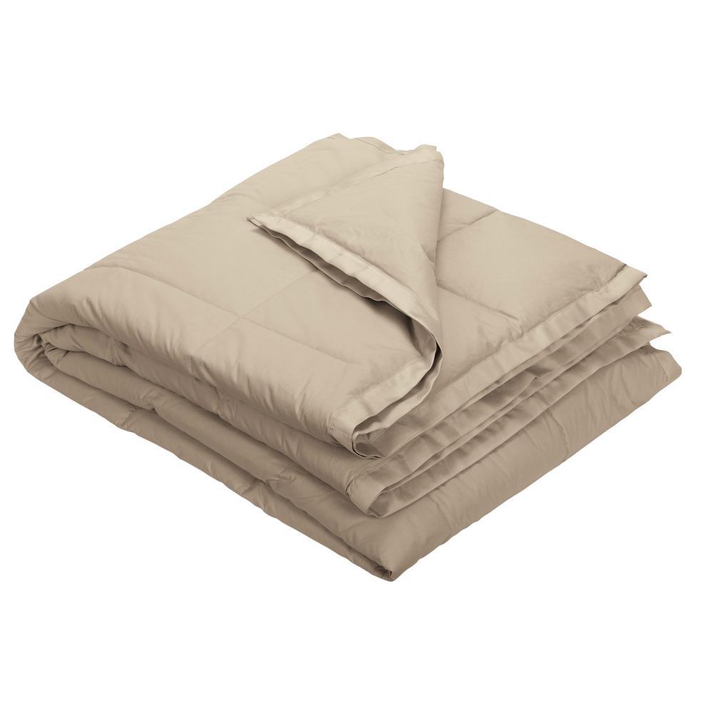 LaCrosse Down Feather Tan Cotton Throw Blanket