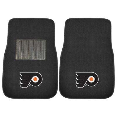 NHL - Philadelphia Flyers Heavy Duty 2-Piece 17 in. x 25.5 in. Nylon Carpet Embroidered Car Mat