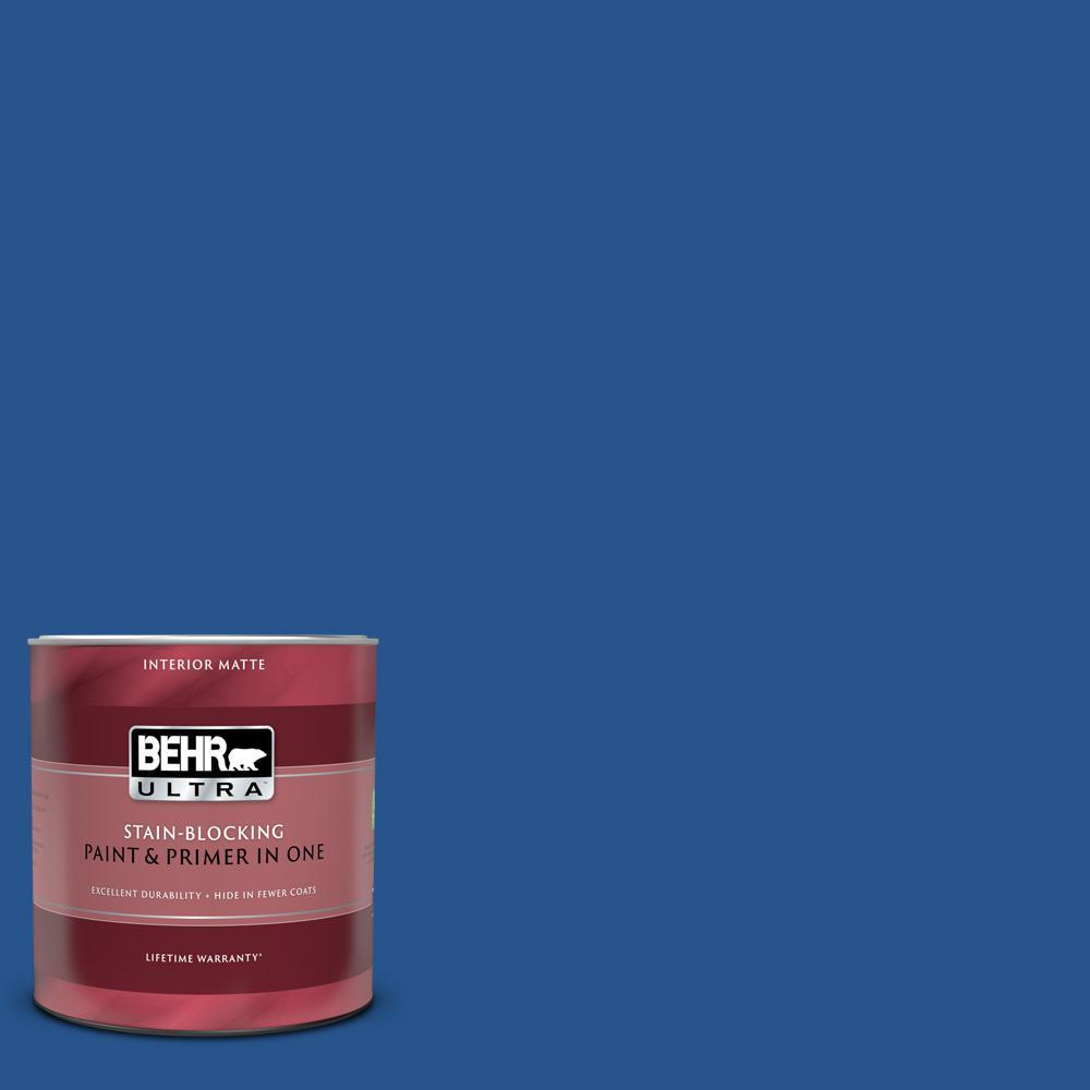 1 qt. #PPU15-03 Dark Cobalt Blue Matte Interior Paint and Primer in One