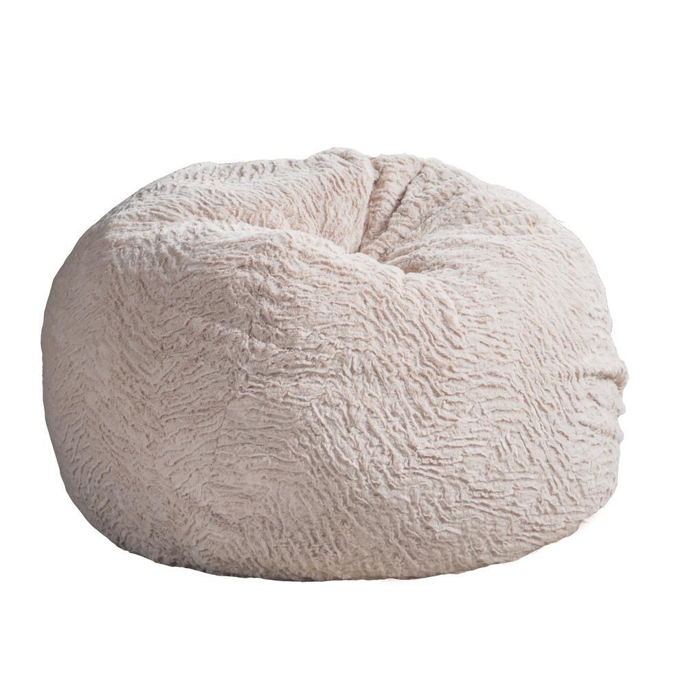 Beige Fur Double Sched Bean Bag