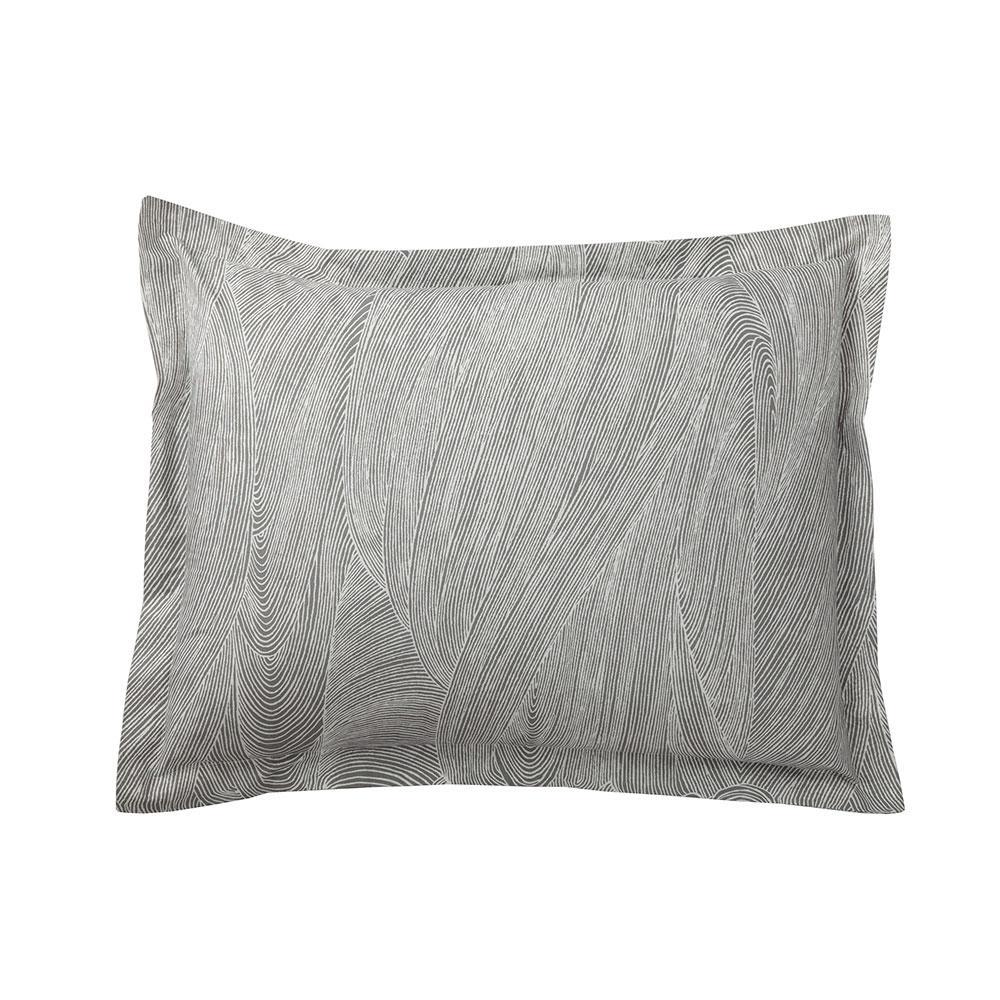 Breaker Charcoal/Ivory Organic Cotton Percale Sham