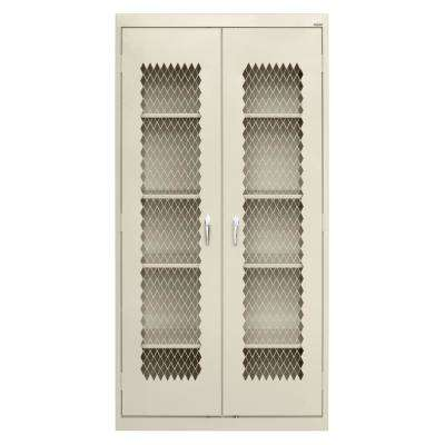 72 in. H x 36 in. W x 24 in. D Freestanding Expanded Metal Front Steel Cabinet in Putty