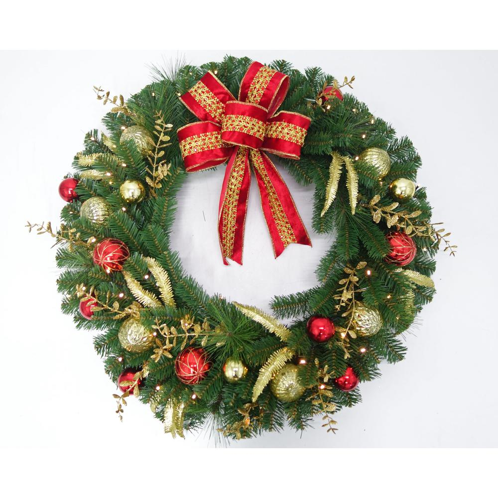 Home Accents Holiday 36 In Pre Lit LED New Plaza Artificial Wreath With 50