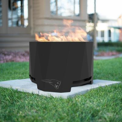 The Peak NFL 24 in. x 16 in. Round Steel Wood Patio Fire Pit -New England Patriots