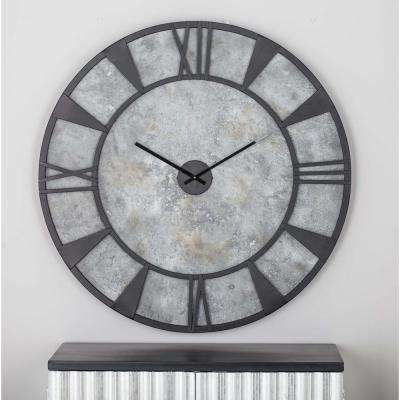 35 in. x 35 in. Modern Iron and Wood Wall Clock