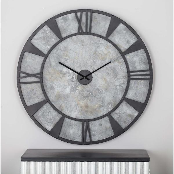 35 In X Modern Iron And Wood Wall Clock