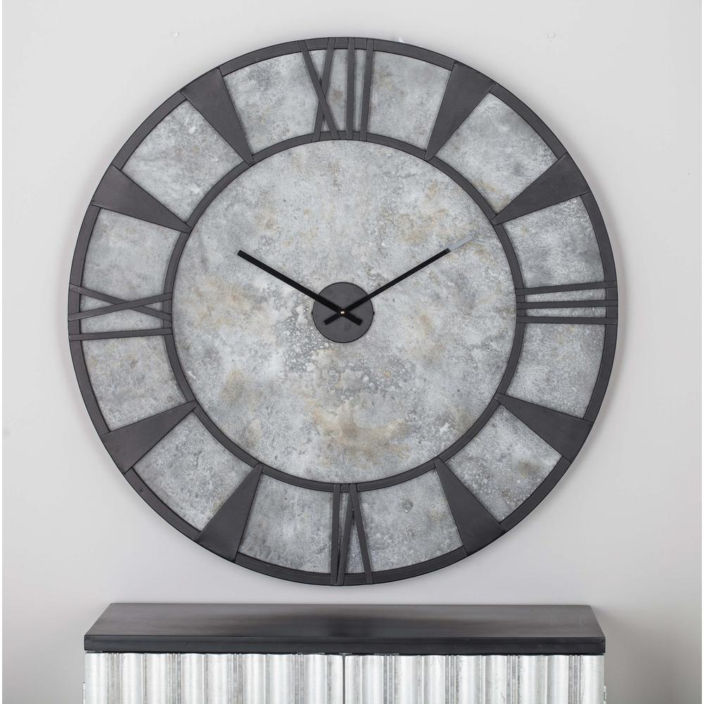 35 in x 35 in modern iron and wood wall clock 27278 the home depot modern iron and wood wall clock amipublicfo Image collections