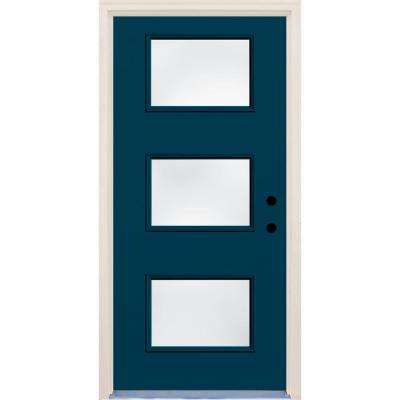 36 in. x 80 in. Left-Hand Atlantis 3 Lite Clear Glass Painted Fiberglass Prehung Front Door with Brickmould