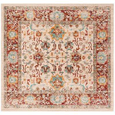 Sutton Ivory/Brick 6 ft. x 6 ft. Square Area Rug