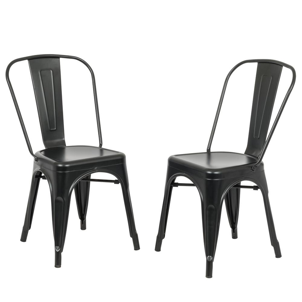 Carolina Forge Adeline Black Metal Stacking Dining Chair Set Of 2 Th 1002 Blk The Home Depot
