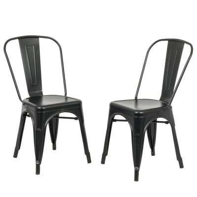 Adeline Black Metal Stacking Dining Chair (Set of 2)