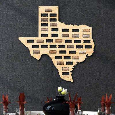 21 in. x 20 in. Wooden Texas Wine Cork Map