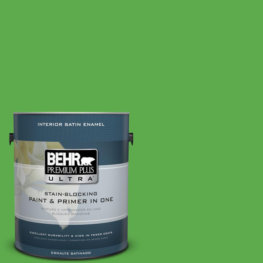 BEHR Premium Plus Ultra 1-gal. #440B-6 Barnyard Grass Satin Enamel Interior Paint