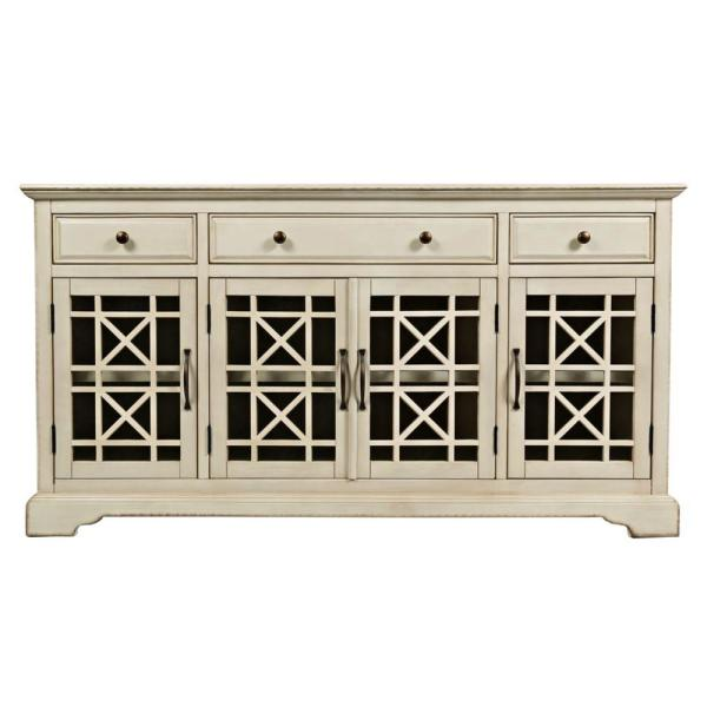 Craftsman Series 60 in. W Antique Cream Wooden Media Unit with Fretwork Glass Door Cabinet
