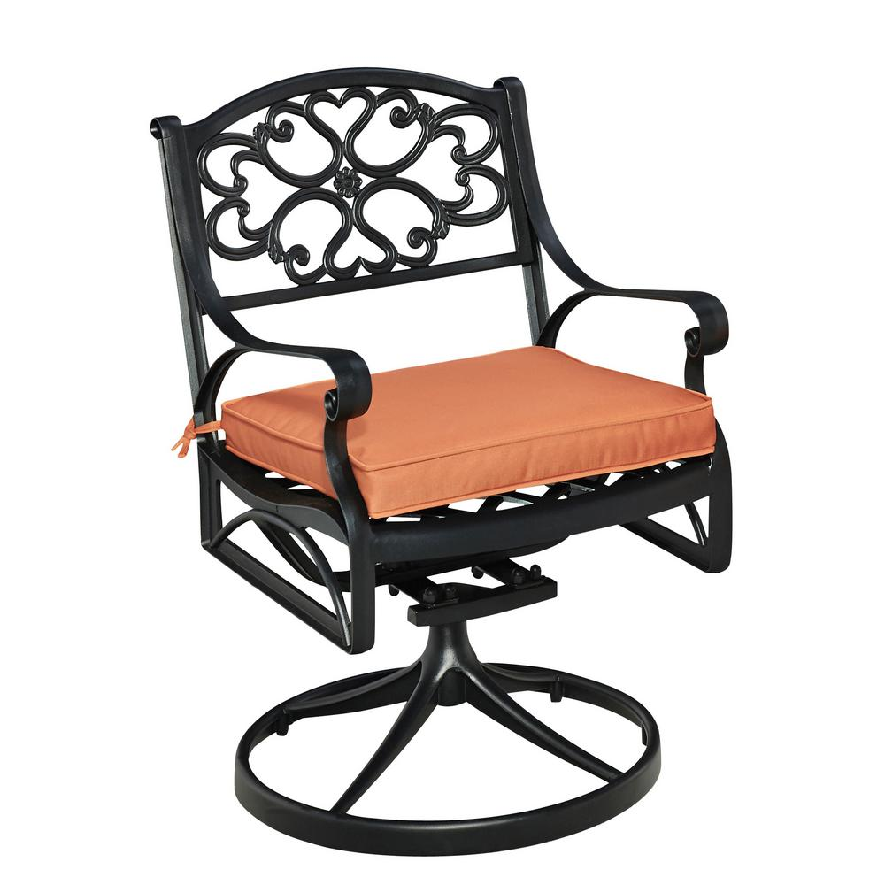 Home Styles Biscayne Black Swivel Cast Aluminum Outdoor Dining Chair With  Coral Cushion