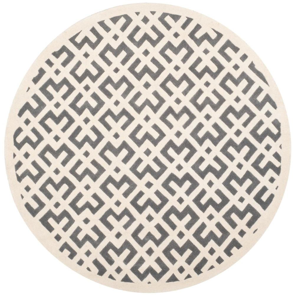 Chatham Dark Grey/Ivory 7 ft. x 7 ft. Round Area Rug