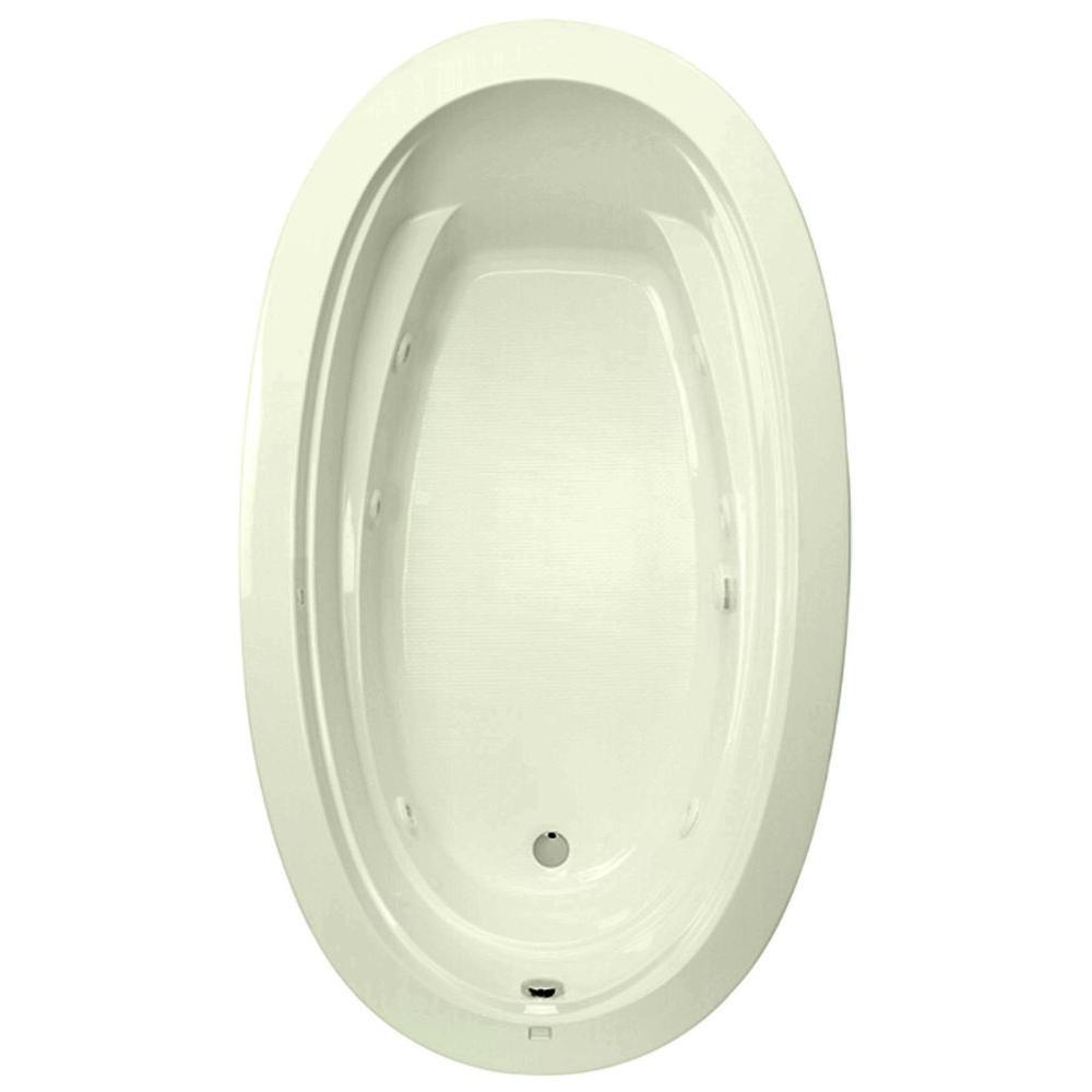 Belmont II 72 in.Acrylic Reversible Drain Oval Drop-In Whirlpool Bathtub with Heater in Biscuit