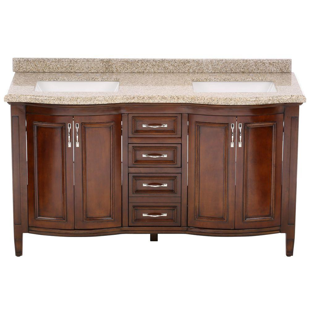 null Sheba 60 in. Vanity in Cocoa with Granite Vanity Top in Speckled Beige