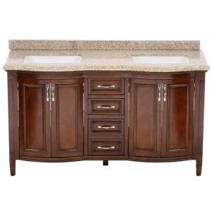 Click here to buy  Sheba 60 inch Vanity in Cocoa with Granite Vanity Top in Speckled Beige.