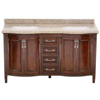 Vanity In Cocoa With Granite Top Speckled Beige