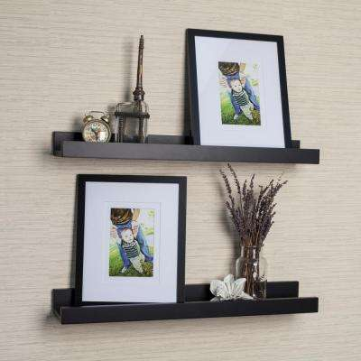 Contempo 21.5 in. W x 2 in. H Black MDF Ledge Shelves (Set of 2) with 2 Photo Frames