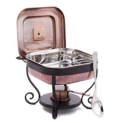 11 in. x 10 in. x 9 in. Hammered Antique Copper Chafing Dish and 3 Qt. Stainless Steel Spoon