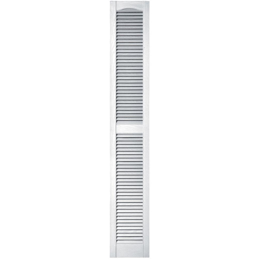 Builders Edge 12 In X 75 In Louvered Vinyl Exterior Shutters Pair In 001 White 010120075001
