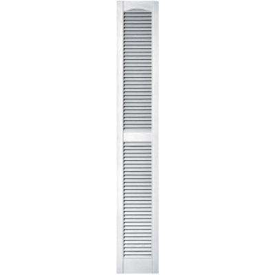 12 in. x 75 in. Louvered Vinyl Exterior Shutters Pair in #001 White