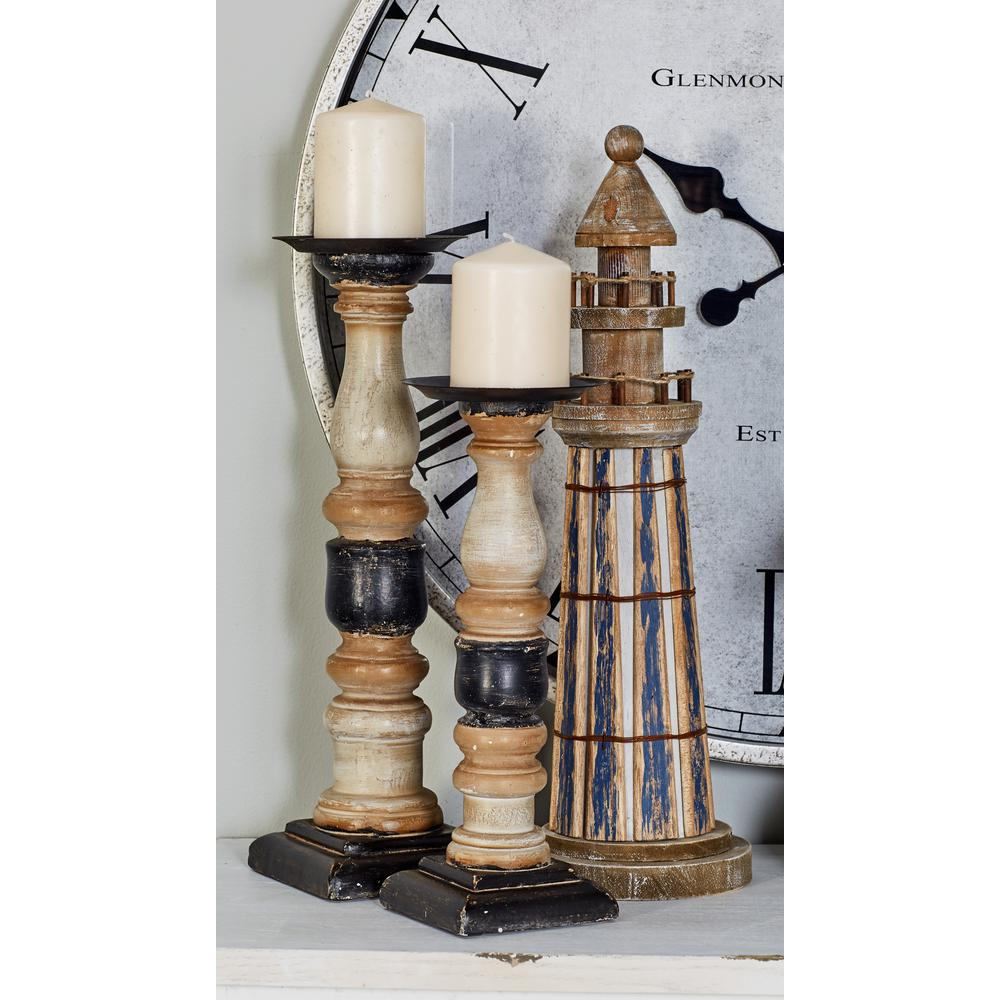 White Wood and Iron Candle Holders with Beige and Black Accents