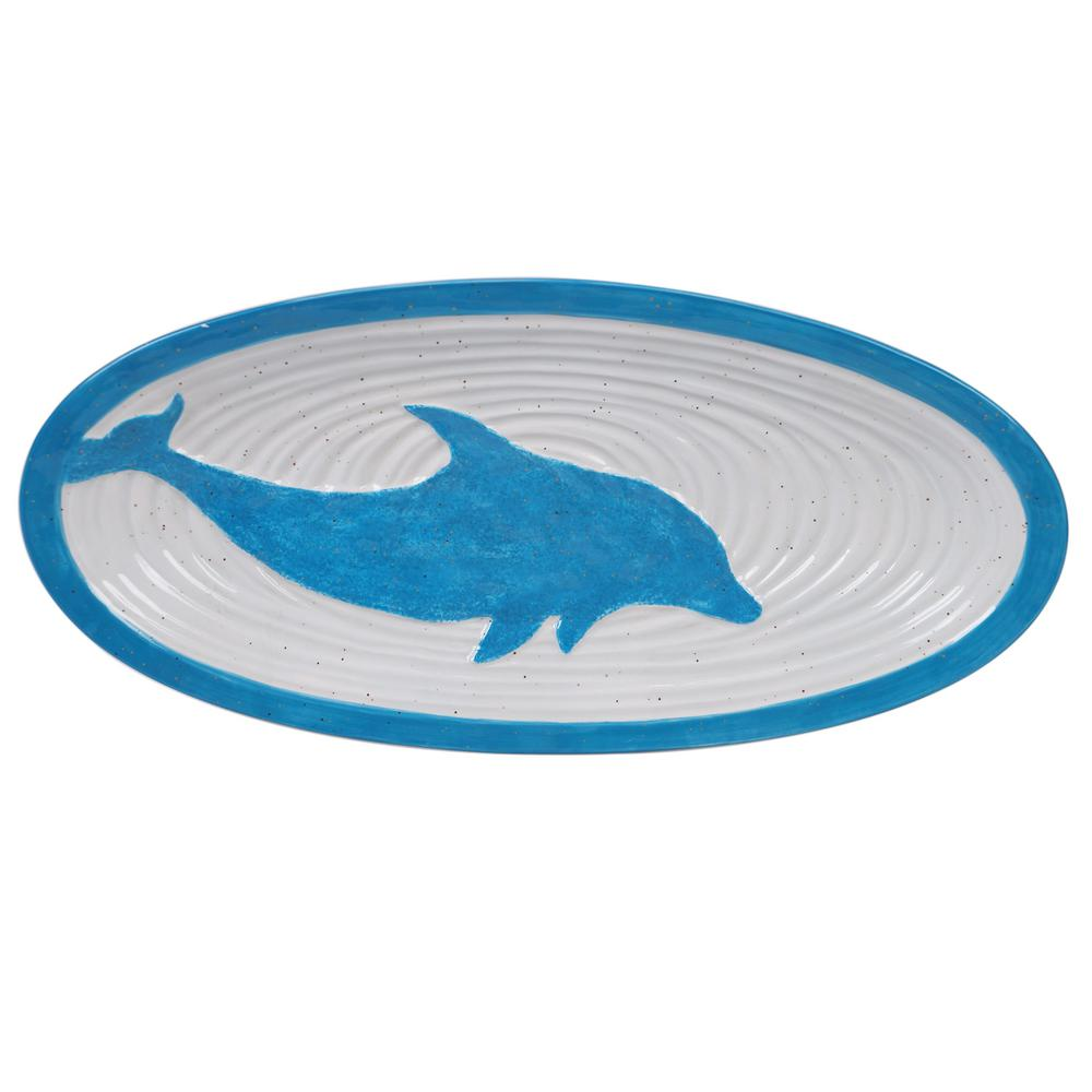 Certified International Natural Coast Multi-Colored 15.25 in. Earthenware Oval Fish Platter