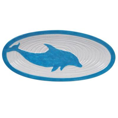 Natural Coast Multi-Colored 15.25 in. Earthenware Oval Fish Platter