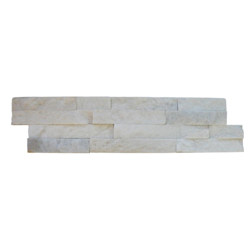 MSI Arctic White Ledger Panel 6 in. x 24 in. Natural Marble Wall ...