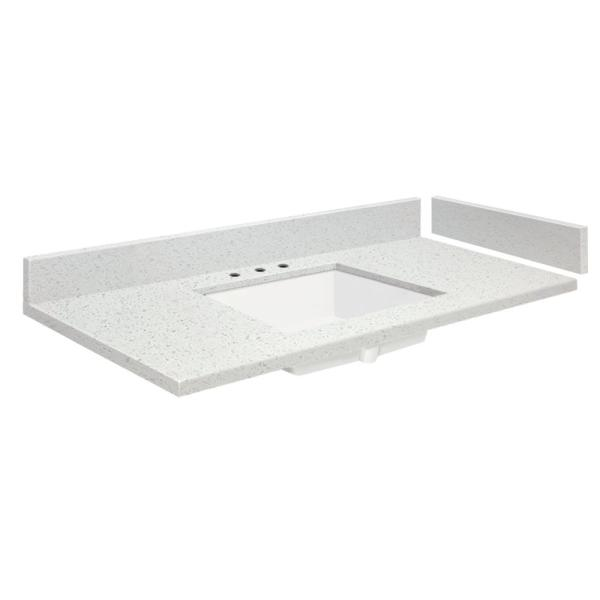 Transolid 39 75 In W X 22 25 In D Quartz Vanity Top In Milan White With 4 In Centerset Vt39 75x22 1ku 3a A W 4 The Home Depot