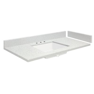 58.5 in. W x 22.25 in. D Quartz Vanity Top in Milan White with White Basin and Widespread