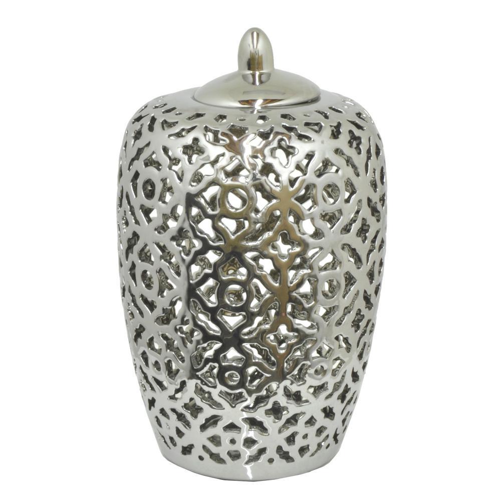 Silver Ceramic Pierced Jar