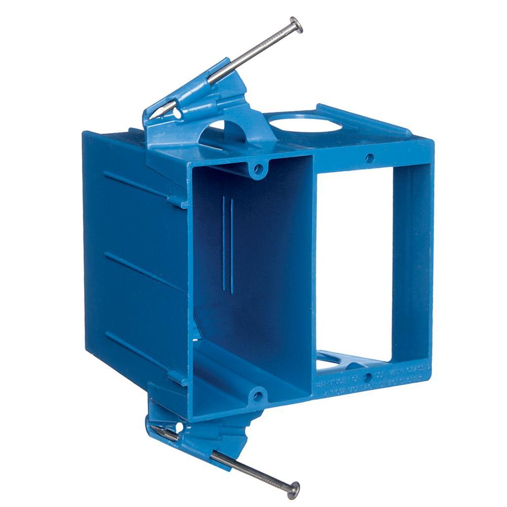 2-Gang Blue Non-Metallic Dual-Voltage Box/Bracket